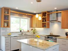 Designer Catherine Nakahara uses a gray-and-white color scheme and clean lines to design a practical, modern kitchen.