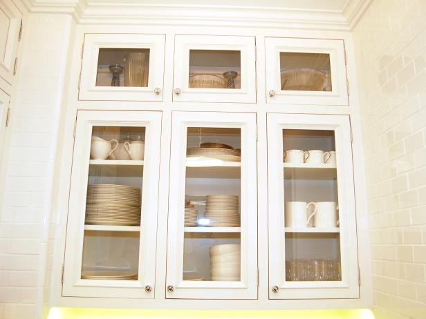 Glass front cabinets displaying china