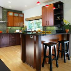 Contemporary Kitchen With Green Subway Tile Backsplash