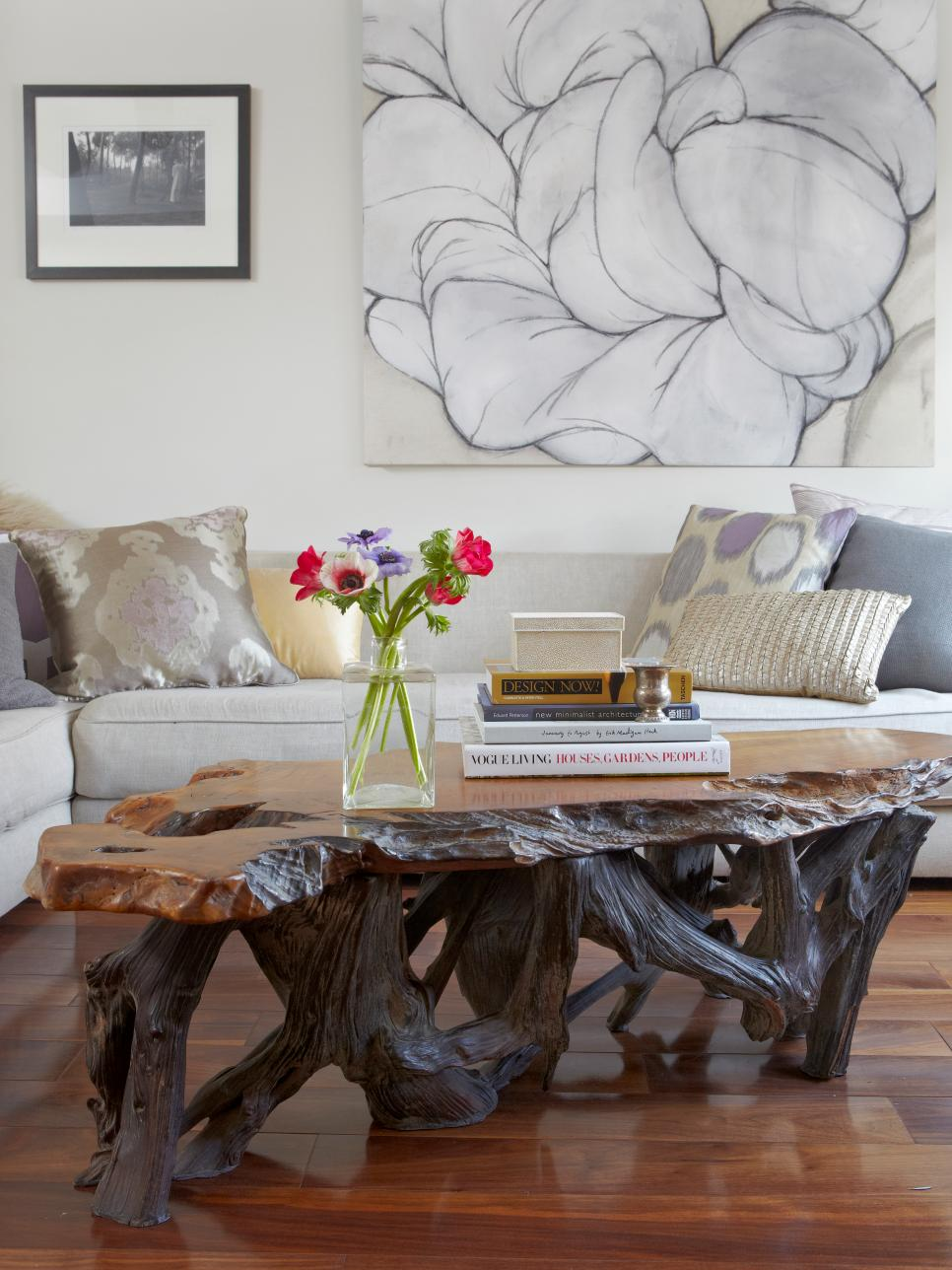 Detail Photo of Natural Wood Coffee Table and Sectional