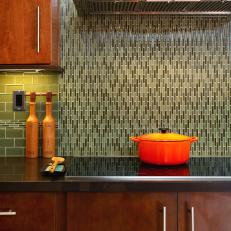 Green Glass Tile Backsplash in Modern Kitchen