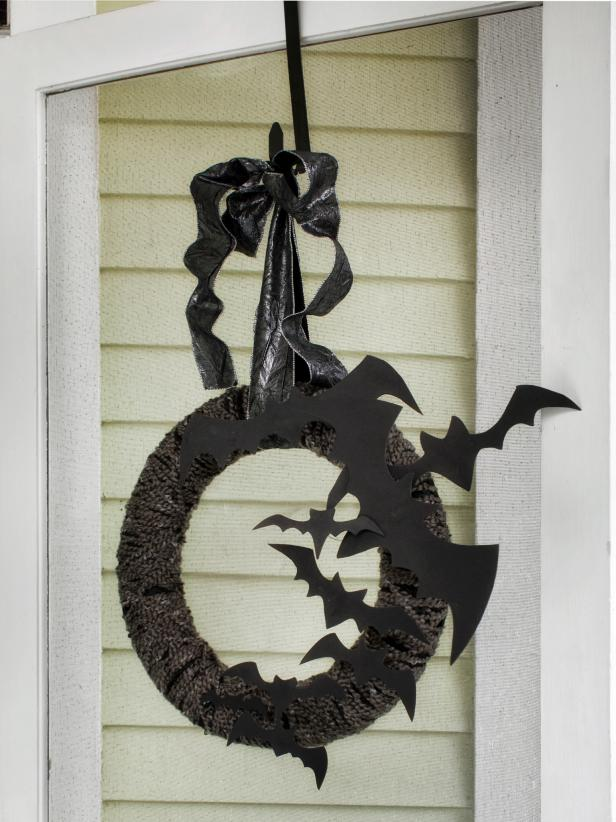 Hanging Halloween Bat Wreath on Front Door