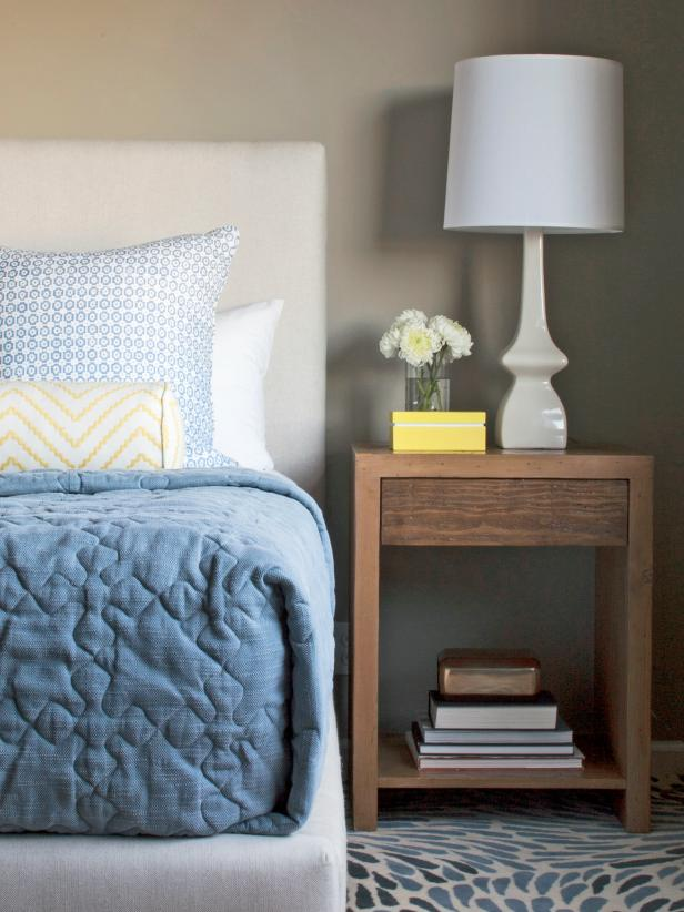 Contemporary Gray and Blue Bedroom With Yellow Accents