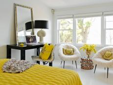 White Bedroom With Yellow and Black Accents