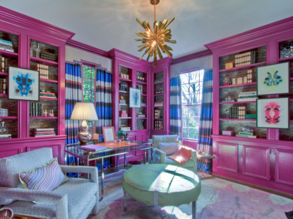 Pink Library With Gold Chandelier