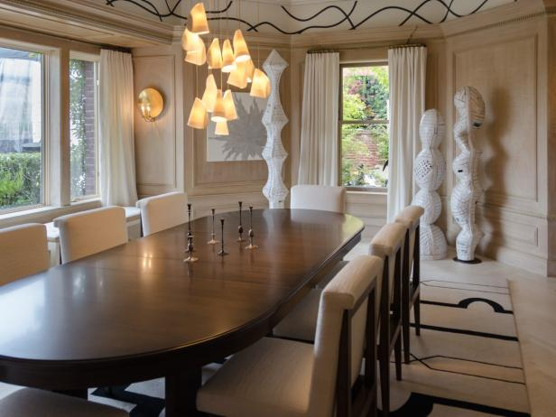 Neutral Transitional Dining Space With White Chairs