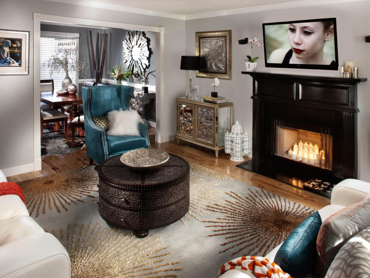 Glam Eclectic Living Room With Traditional Fireplace Hgtv