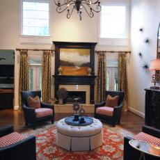 Sitting Room Centered On Round Oriental Rug