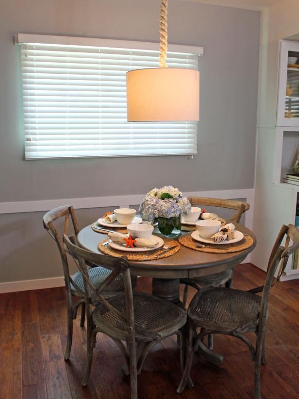 Coastal Dining Room Table With Pendant Shade