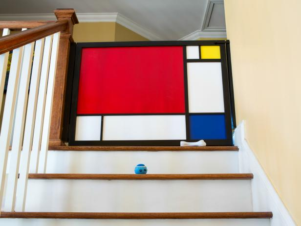 Stylish Mondrian Inspired Staircase Baby Gate