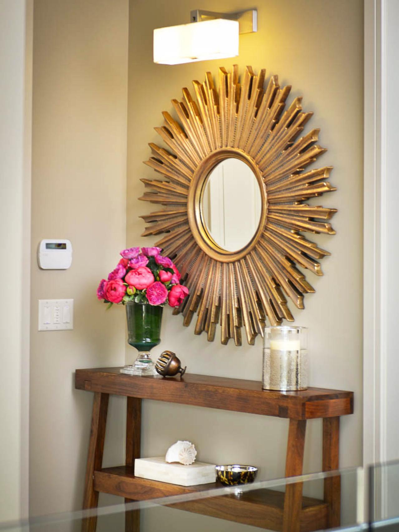 Gold Sunburst Mirror And Rustic Console In Hallway Hgtv