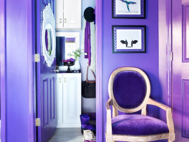 Purple Girl's Bedroom Closet With White Accents