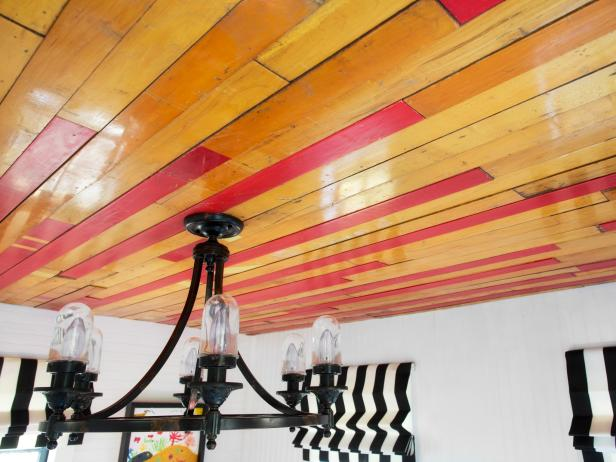 Reclaimed Flooring as Ceiling