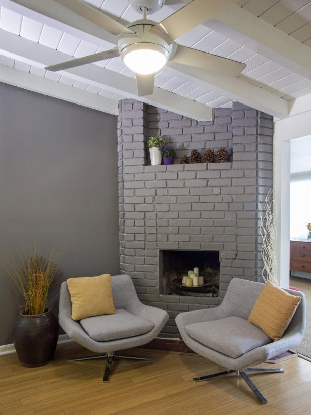 15 gorgeous painted brick fireplaces hgtv 39 s decorating - How to make a brick fireplace look modern ...