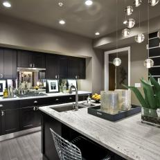 Gray Contemporary Kitchen With Black Cabinets