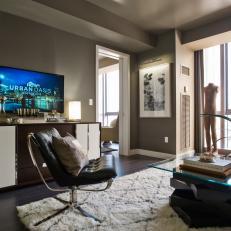 Contemporary Beige Living Room With Cream Shag Rug