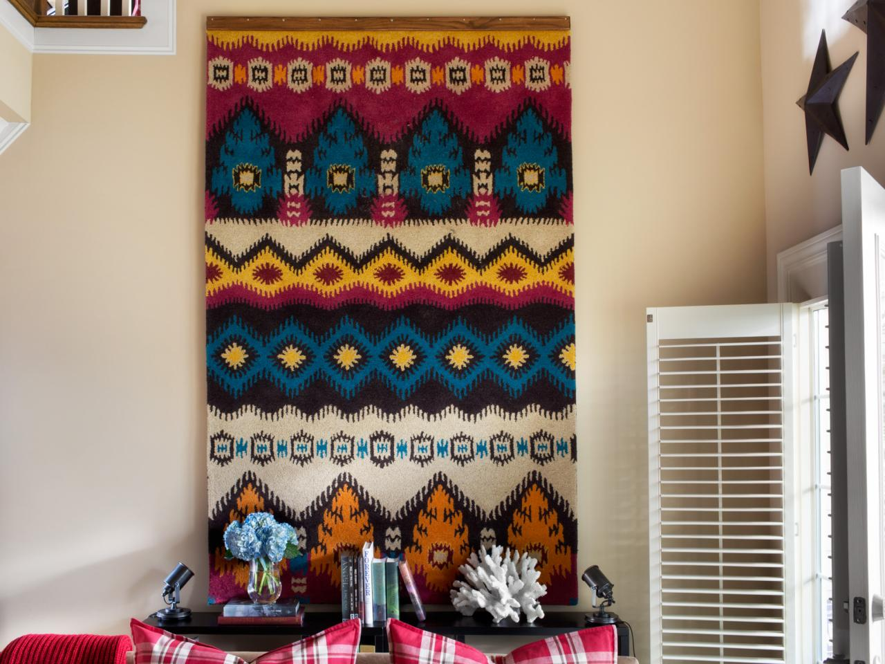 How To Turn A Rug Into Wall Art Tapestry Hgtv