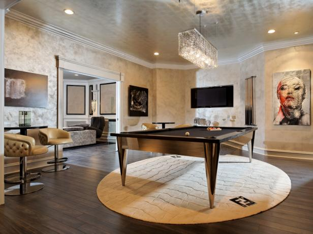 White and Silver Game Room