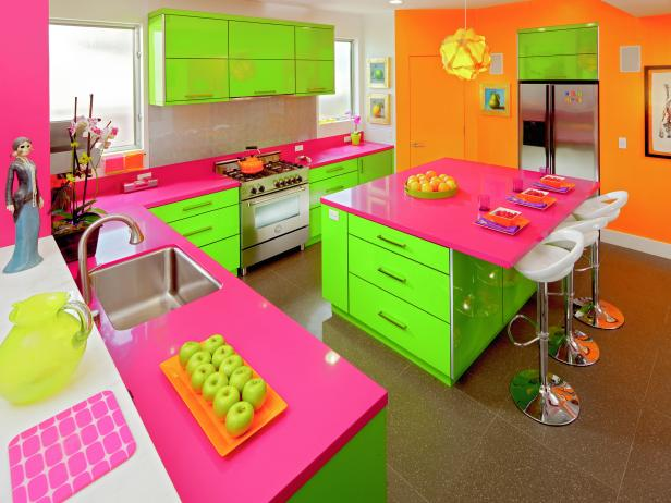 Eclectic Neon Pink And Green Kitchen