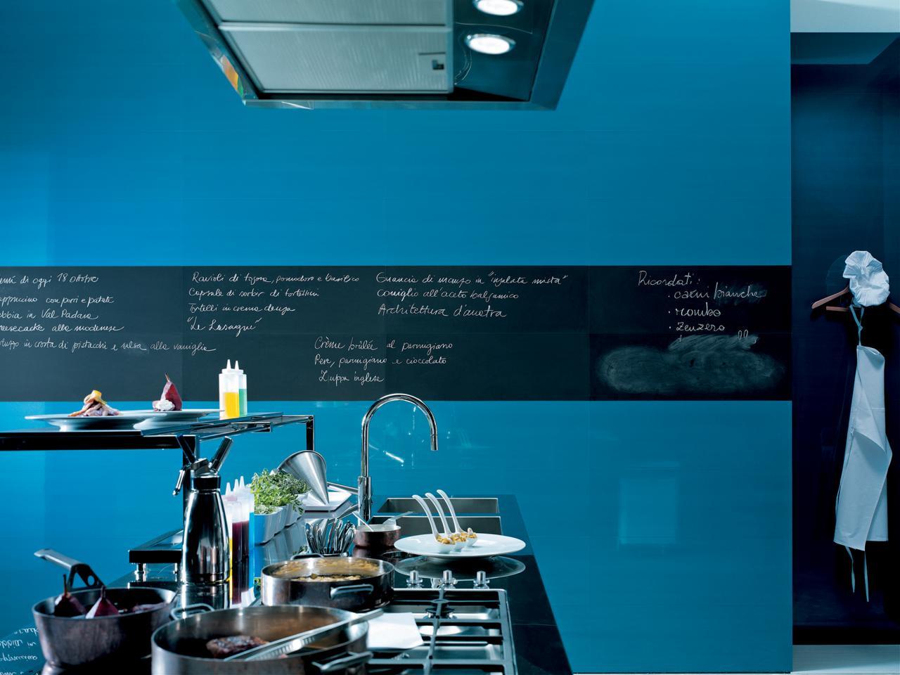 Blue Kitchen With Chalkboard Paint Border | HGTV