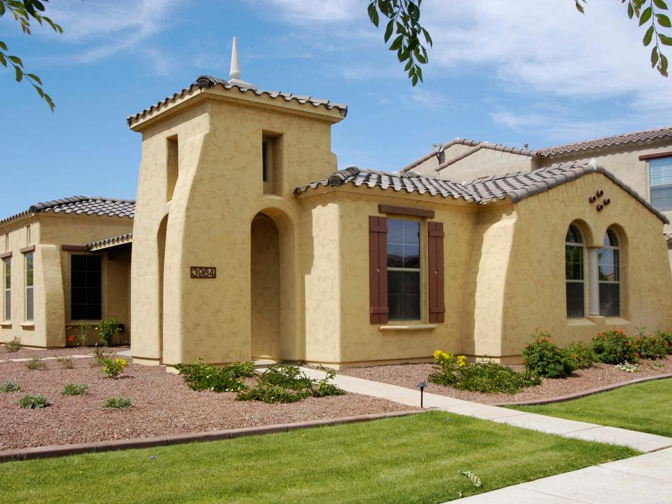 Cream and Brown Mediterranean Home Exterior