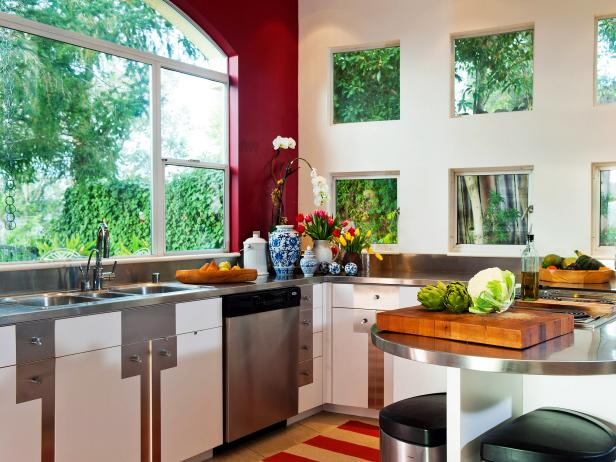 Red Modern Kitchen with Stainless Steel Countertops