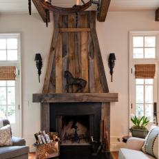 Reclaimed Wood Mantel And Fireplace