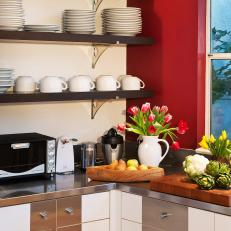 Red Modern Kitchen with Open Shelves