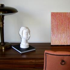 Wood Desk With Sculpted Head Figurine