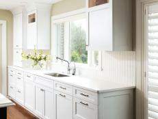 white kitchen cabinets with brushed nickel hardware maximum home value kitchen projects countertops and sinks 28988