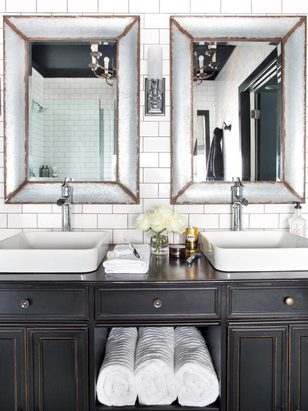 Black and White Transitional Double-Vanity Bathroom