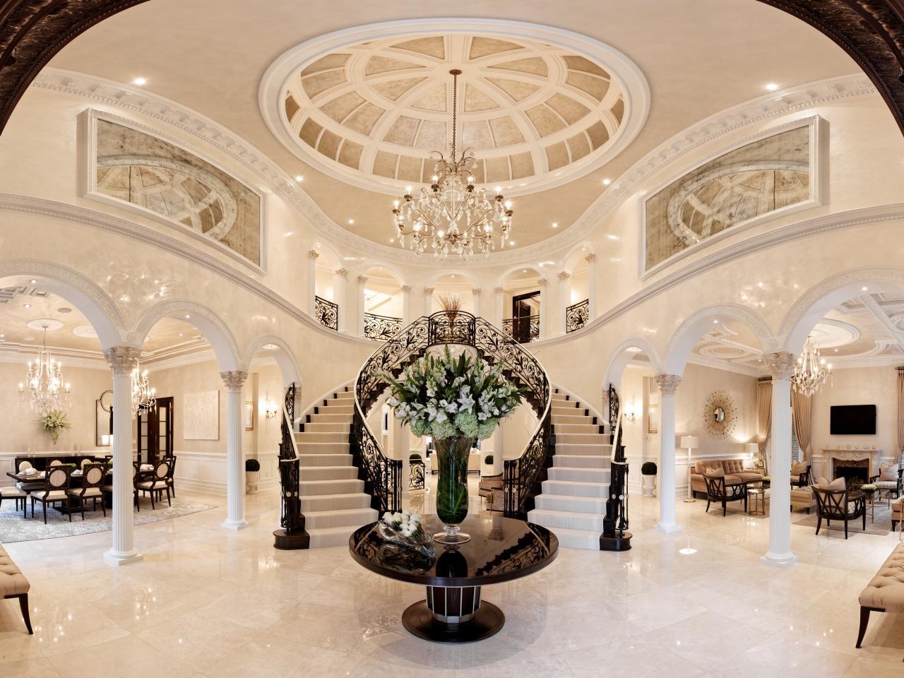 White Foyer Lighting : Classic black and white entryway dahlia mahmood hgtv