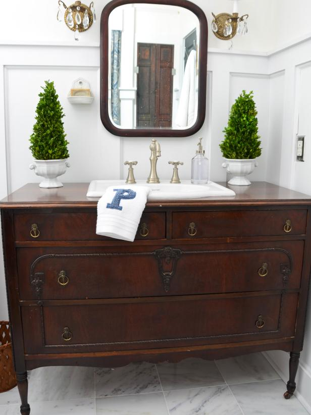Traditional Dresser Gets New Life as Bathroom Vanity - Turn A Vintage Dresser Into A Bathroom Vanity HGTV