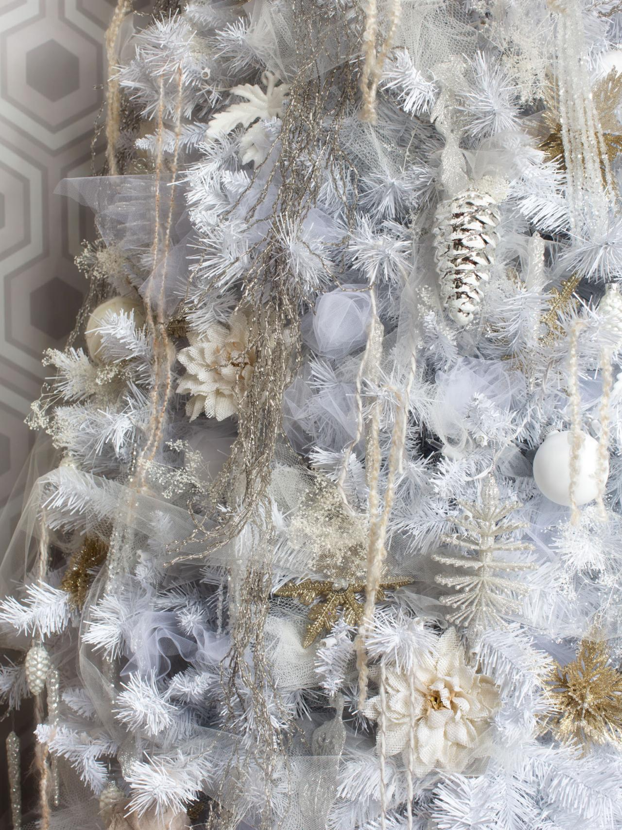 tons of tinsel bpf_holiday house_interior_all_white_christmas_tree_layered_tones_v - Silver And White Christmas Tree Decorations