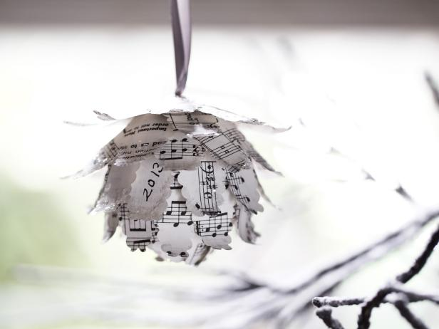 Ornament made from sheet music