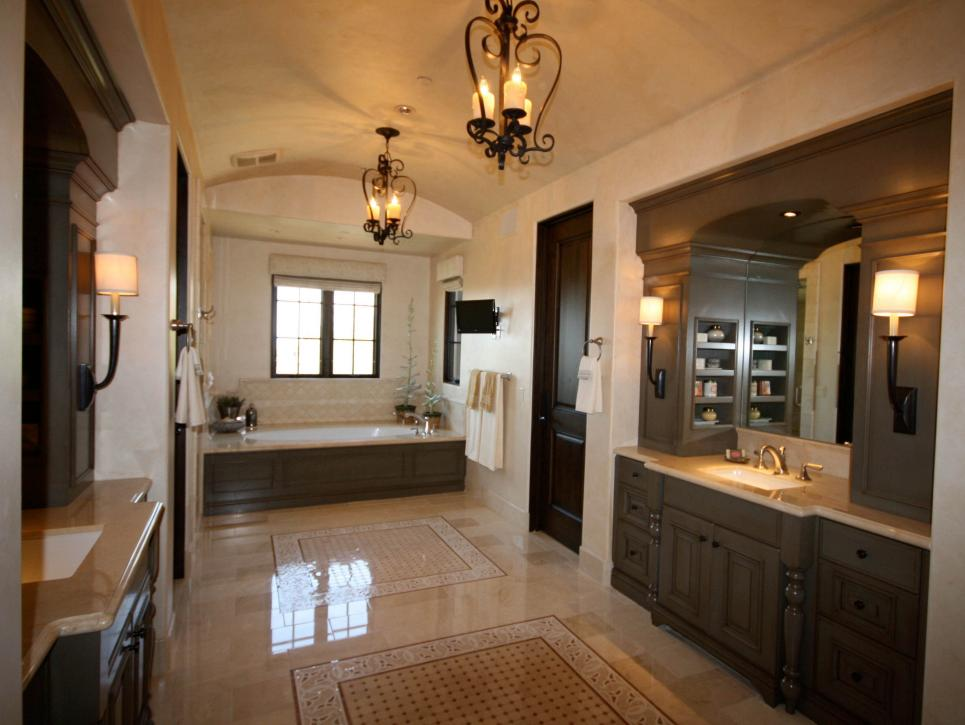 Traditional Master Bathroom with Double Vanity and Candle Chandeliers