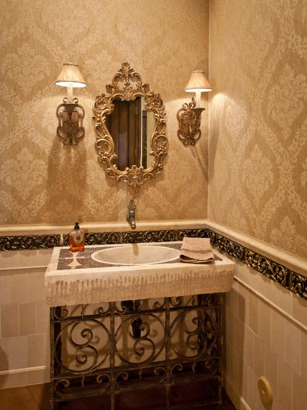 Neutral Victorian Powder Room