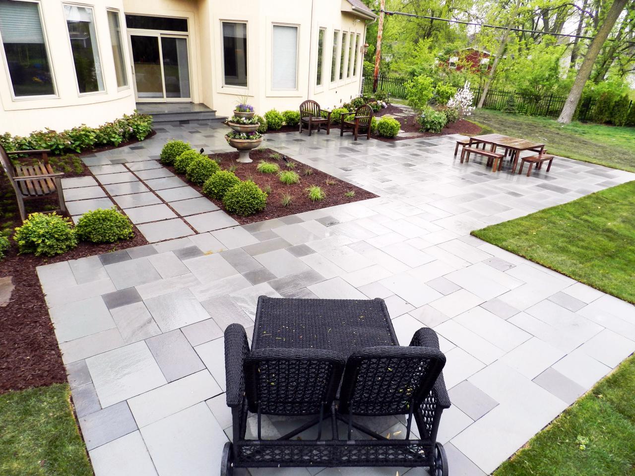 Contemporary Patio With Sleek Gray Stone | HGTV on Modern Backyard Patio id=87188
