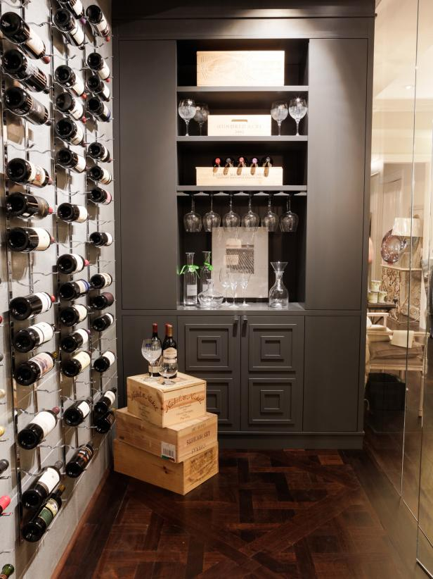 Wine room with wall art and built in bar area