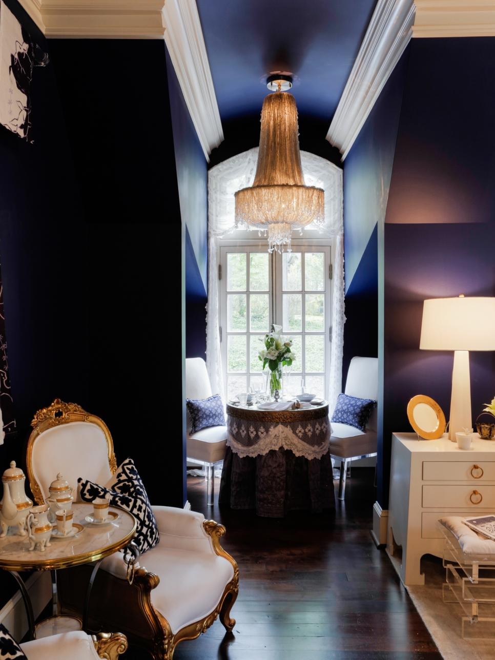 Sitting Room With Dark Purple Walls, Nook, Fancy Chandelier