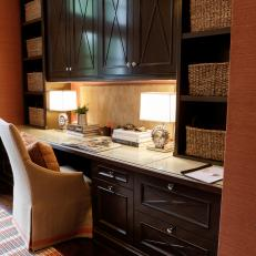 Transitional Home Office with Wood Desk and Cabinets