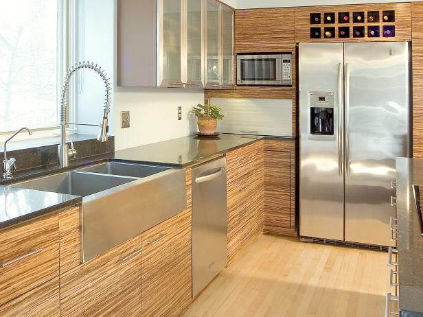 Great Contemporary Kitchen With Bamboo Cabinets And Stainless Steel Countertops