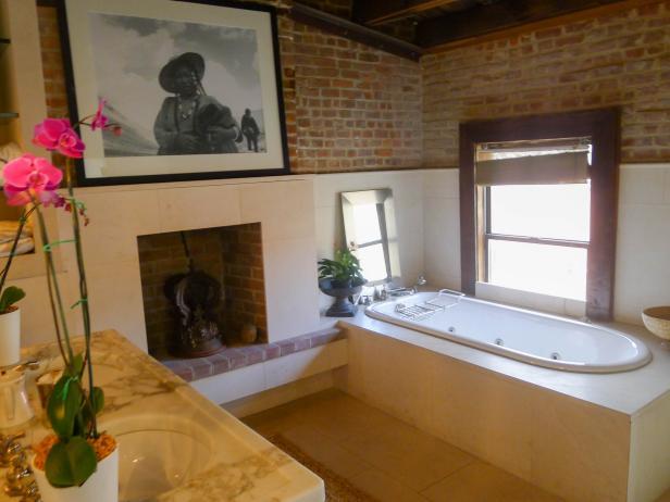 Rustic Master Bathroom With Exposed Brick Hgtv