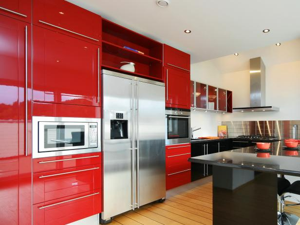 Red Kitchen Cabinets Pictures Ideas Tips From HGTV HGTV - Red and grey kitchen cabinets