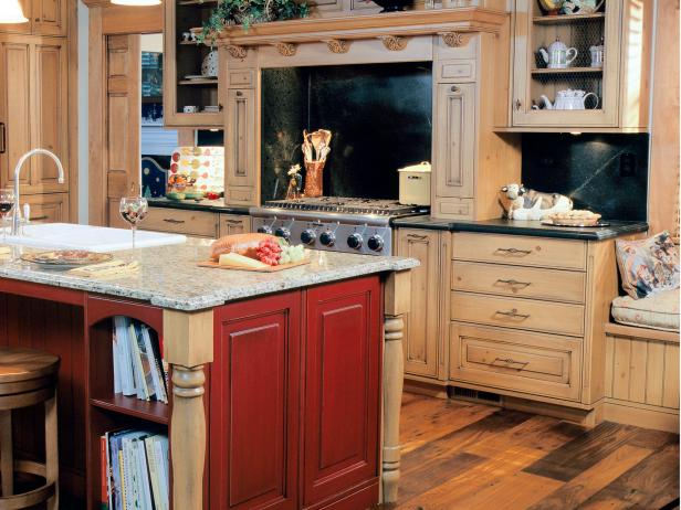 Traditional Neutral Kitchen With Red Kitchen Island
