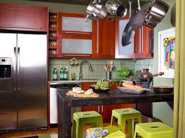Contemporary Kitchen With Green Bar Stools