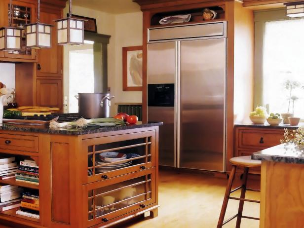 Kitchen Island with Stainless Refrigerator