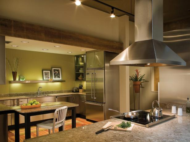 Contemporary Meets Rustic in an Apple-Green Kitchen