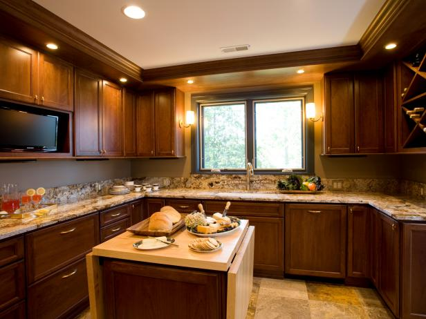 Traditional Brown Kitchen With Granite Countertop