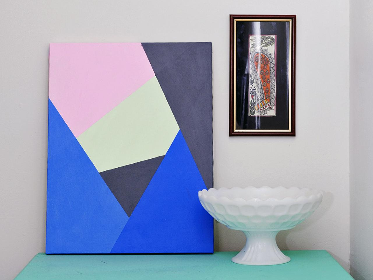 Make modern geometric wall art with paint and tape hgtv - Geometric wall designs with paint ...